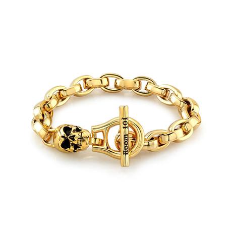 "Eddie Link Bracelet With Skull // Gold Plated (8.5"")"