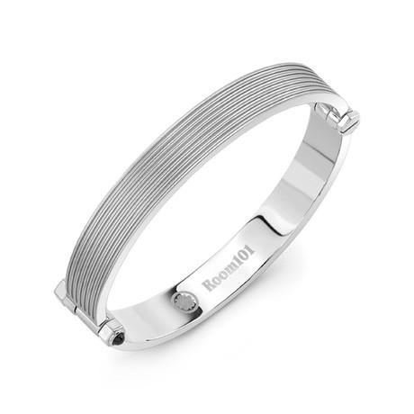 Flat Striped Bangle Bracelet // Silver (Small)