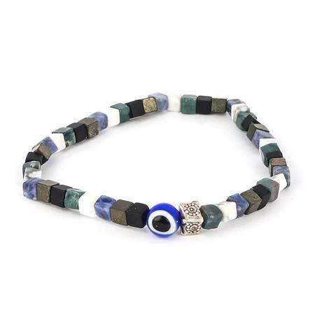Dell Arte // Beaded + Silver Inserts Bracelet // Multicolor