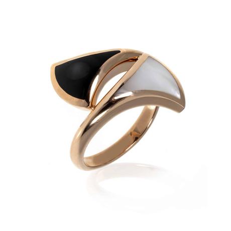 Bulgari 18k Rose Gold Diva's Dream Onyx + Mother of Pearl Ring // Ring Size: 7