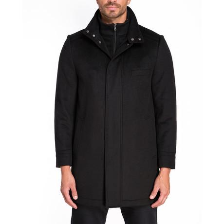 Riga Zip + Snap Front Coat // Black (S)
