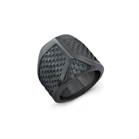 Checker Talon Ring // Black Titanium (6)