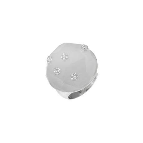 Roberto Coin 18k White Gold Diamond + White Quartz Ring // Ring Size: 6.75