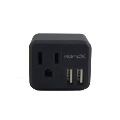 PowX2 Wall Outlet // 2 USB Ports // RapidX (Black)