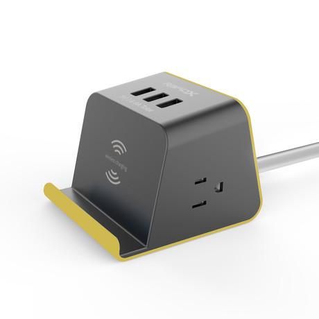 MyDesktop Multipurpose Power Strip // Wireless Charger (Tangerine)