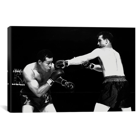 """American boxer Joe Louis fighting with Billy Conn 1946 // Rue Des Archives (18""""W x 12""""H x 0.75""""D)"""