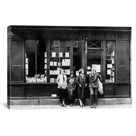 "Ernest Hemingway and Sylvia Beach infront of the 'Shakespeare and Company' bookshop, Paris, 1928  // Rue Des Archives (18""W x 12""H x 0.75""D)"