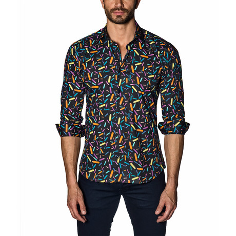Teddy Long-Sleeve Shirt // Black + Multicolor (S)