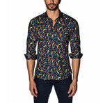 Woven Button-Up // Black Multi Crayola (L)