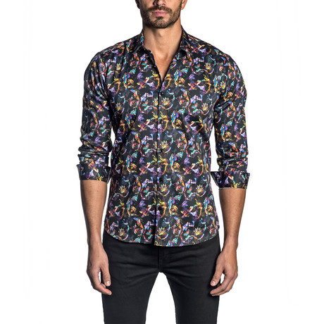Jared Lang // Tony Long Sleeve Button-Up Shirt // Black Butterfly (S)