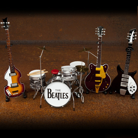The Beatles Miniature Guitar and Drum Ed Sullivan Band Set // Handcrafted