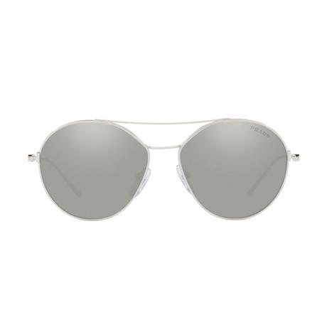 Prada // Men's Metal Sunglasses // Silver + Silver Mirror