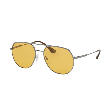 Prada // Men's Geometric Sunglasses // Gunmetal + Orange