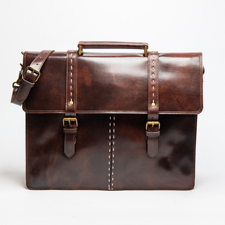 "Travel Leather Briefcase 17"" // Antique Brown"