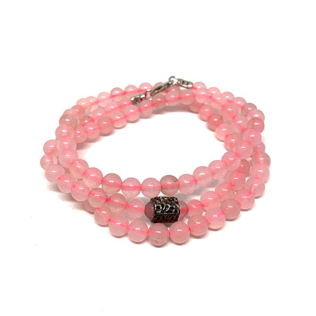 Healing Stone 2-In-1 Necklace + Wrap Bracelet // Rose Quartz (S)