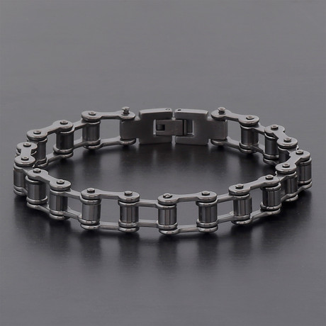 Hematite Stainless Steel Polished Bicycle Chain Bracelet // Gray