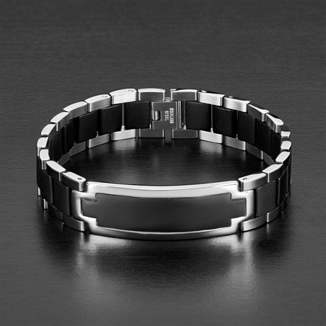 Two Tone Rubber Inlay ID Bracelet // Black + Silver