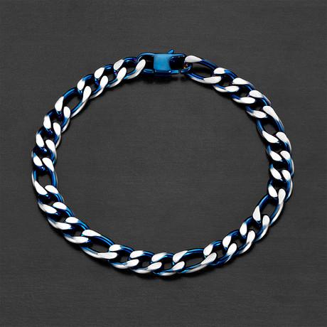 Matte Stainless Steel Figaro Chain Bracelet (Black Plated)