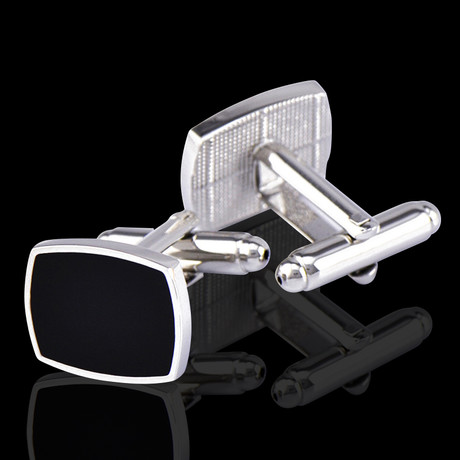 Square Cufflinks + Gift Box // Silver + Black