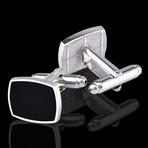 Square Cufflinks + Gift Box // Silver + Black