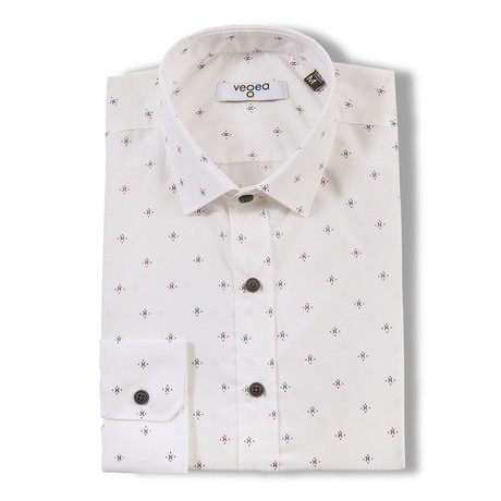 Gynni Slim Fit Print Shirt // White (XS)