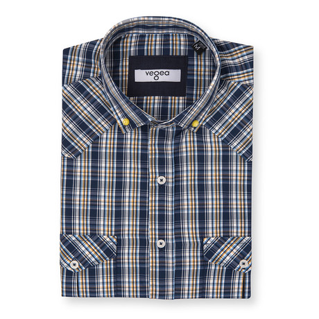 Galileo Check Shirt // Blue + Yellow (XS)