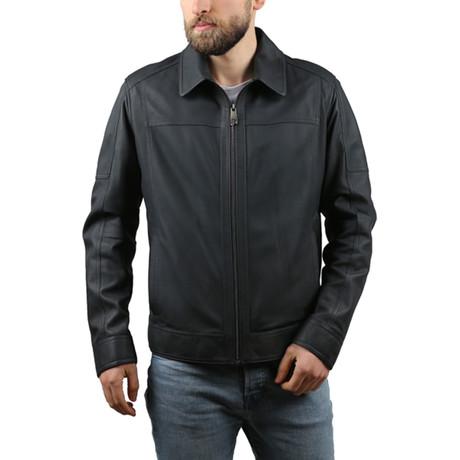 Nigel Leather Jacket // Navy Blue (XS)