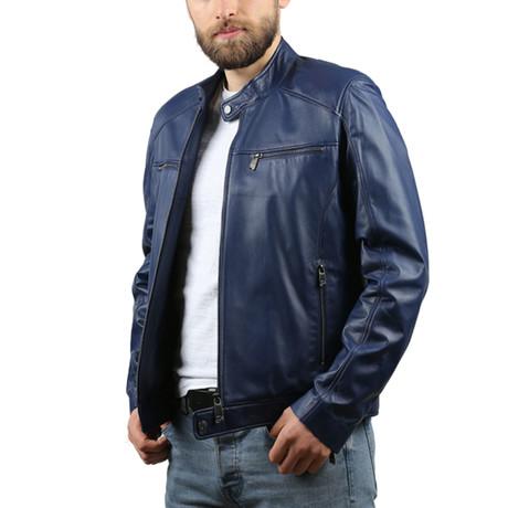 Melinda Leather Jacket // Blue (XS)