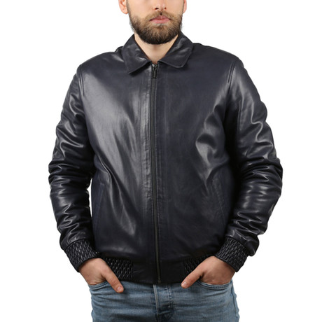Oil Leather Jacket // Navy Blue (XS)
