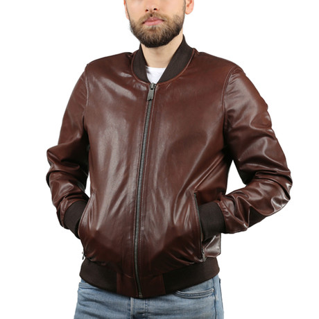 Joannes Leather Jacket // Brown (XS)