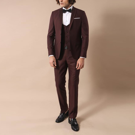 Owen Slim Fit 3-Piece Suit // Burgundy (Euro: 44)