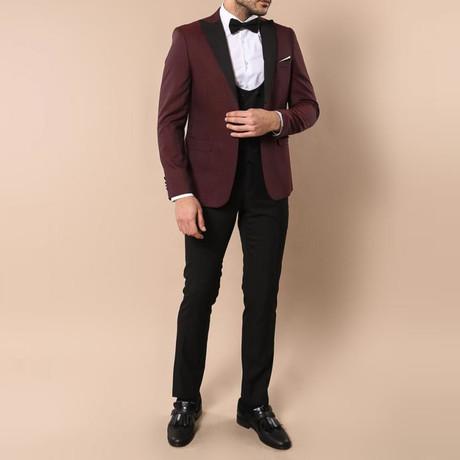 Kelvin Slim Fit 3-Piece Tuxedo // Burgundy (Euro: 44)