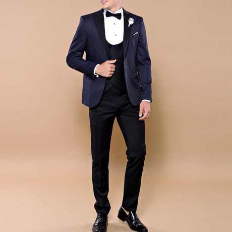 Wyatt Slim Fit 3-Piece Tuxedo // Navy (Euro: 44)