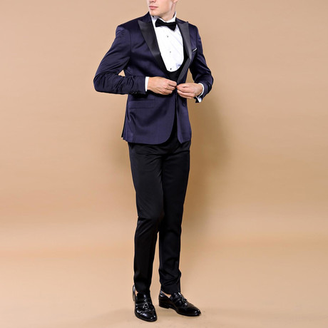 Andreas Slim Fit 3-Piece Tuxedo // Navy (Euro: 44)