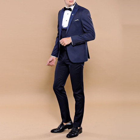 Jamey Slim Fit 3-Piece Tuxedo // Navy (Euro: 44)