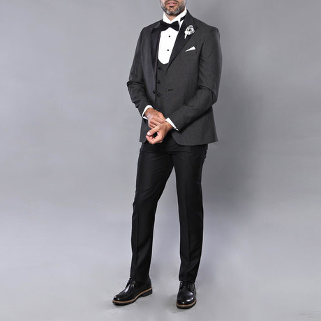Wesley Slim Fit 3-Piece Tuxedo // Black (Euro: 46)