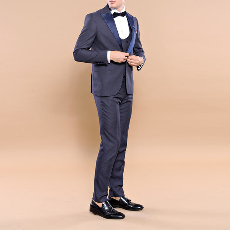 London Slim Fit 3-Piece Tuxedo // Navy (Euro: 46)
