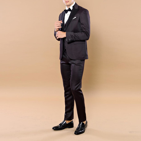 Prince Slim Fit 3-Piece Tuxedo // Burgundy (Euro: 46)