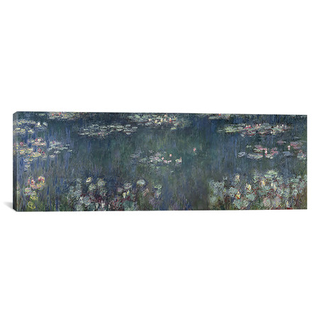 "Waterlilies: Green Reflections, 1914-18 P // Claude Monet (36""W x 12""H x 0.75""D)"