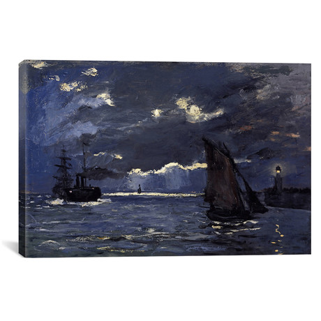 """A Seascape, Shipping by Moonlight (18""""W x 12""""H x 0.75""""D)"""