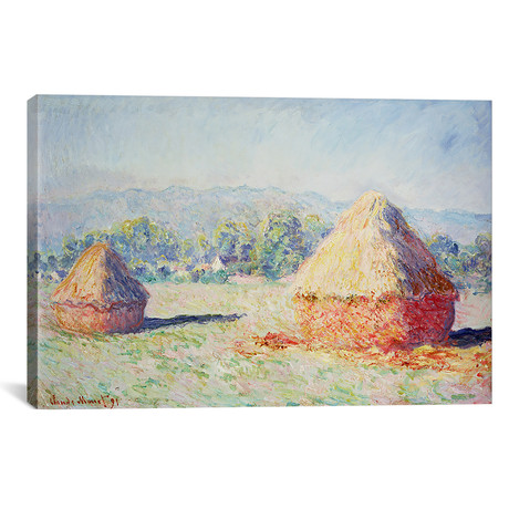"""Haystacks in the Sun, Morning Effect, 1891 (18""""W x 12""""H x 0.75""""D)"""
