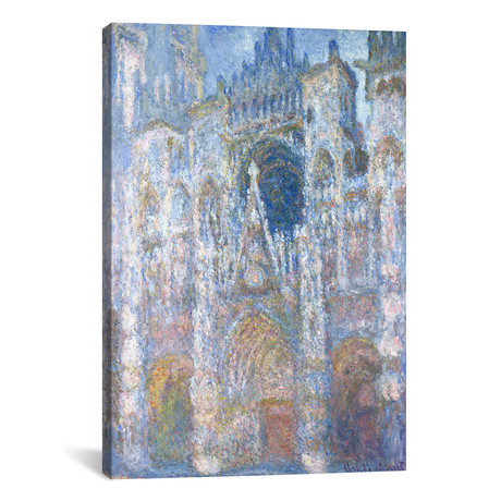 """Rouen Cathedral, Blue Harmony, Morning Sunlight, 1894 (12""""W x 18""""H x 0.75""""D)"""