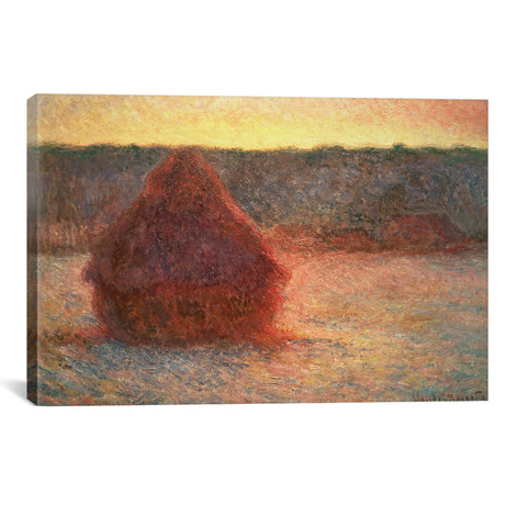 """Haystacks at Sunset, Frosty Weather, 1891 (18""""W x 12""""H x 0.75""""D)"""