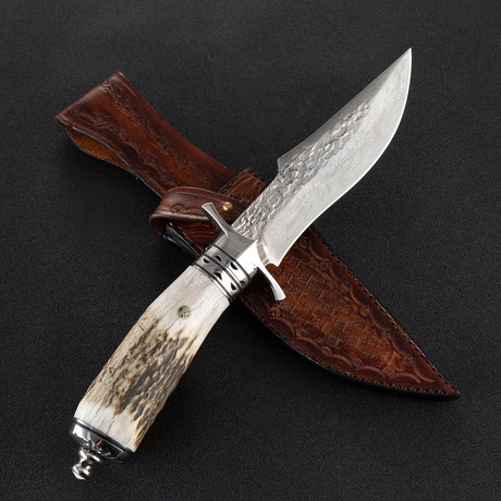The Bux Damascus Fixed Blade Knife