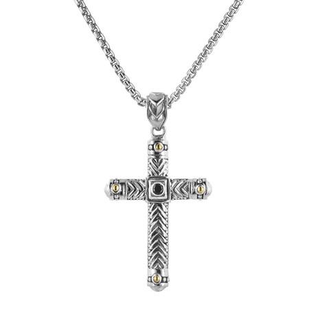 BroManse Silver + 18K Gold Black Spinel Cross Necklace