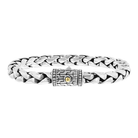 Men's Accented Braided Bracelet // Silver + Gold