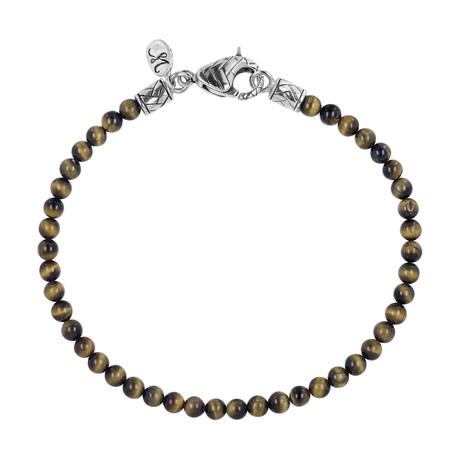 BroManse Silver Beaded Tiger's Eye Bracelet