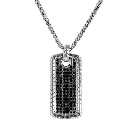 Silver Pave Dog Tag Necklace