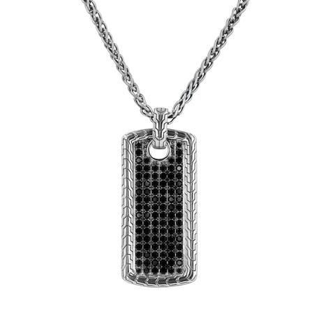 Men's Pave Dog Tag Necklace // Silver + Black