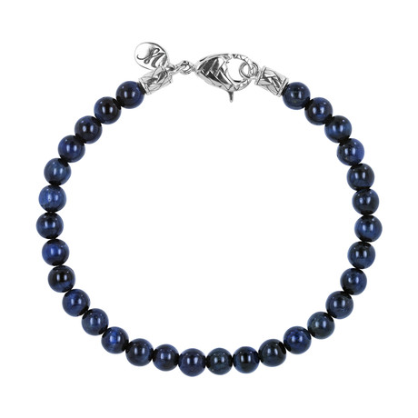 BroManse Silver Beaded Blue Tiger's Eye Bracelet